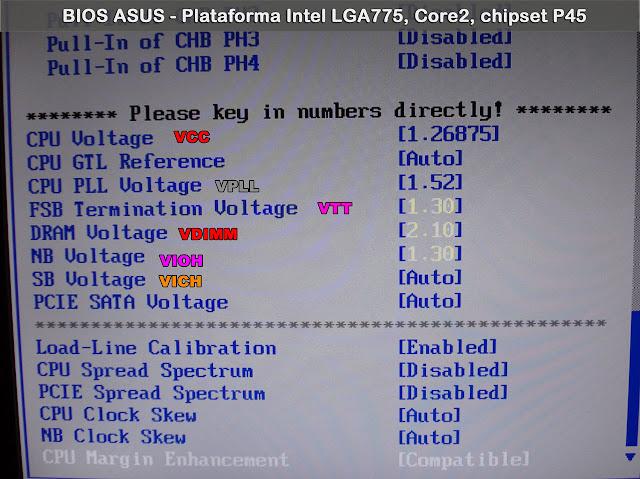 pantalla BIOS voltajes overclock
