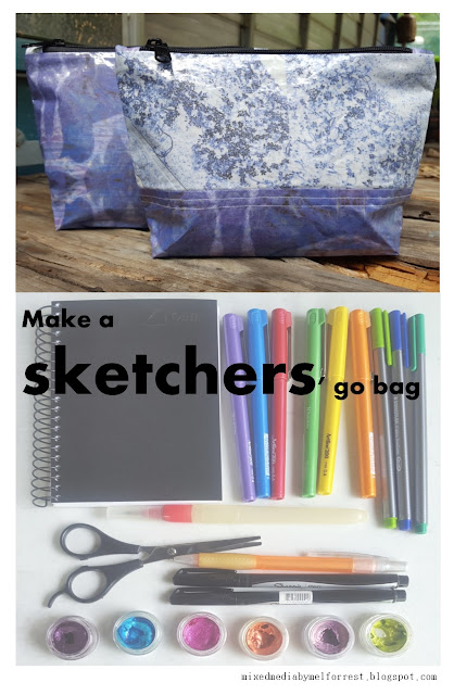 A zippered pouch using fabrics design by mixedmediabymelforrest.blogspot.con