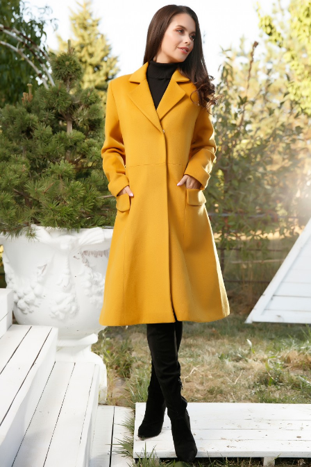 Palton de iarna lung de femei elegant galben din lana la reducere