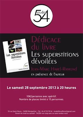 """Affiche de la soirée de présentation par l'auteur du livre """" Les Superstitions Dévoilées """"."""