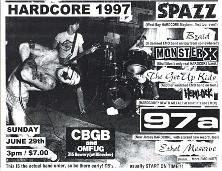 Dan Lactose Shigeru Shiggy Sato Tankcrimes Scotty Heath On Spazz Live At Cbgb June 29 1997 A Benefit For El Puente Yokohama
