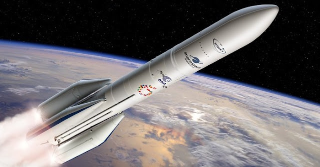 Artist's view of the configuration of Ariane 6 using four boosters (A64). Credit: ESA - D. Ducros