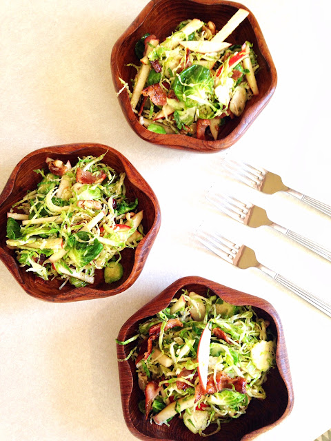 Wilted Brussel Sprout Salad with Warm Bacon Dressing