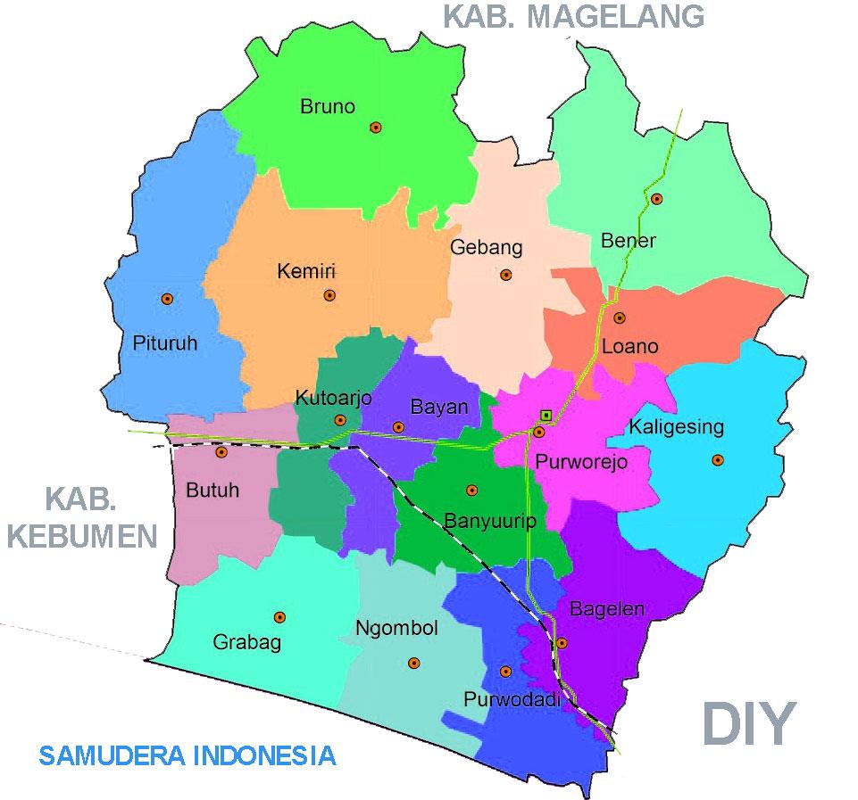 Gambar Peta Administrasi Kabupaten Purworejo