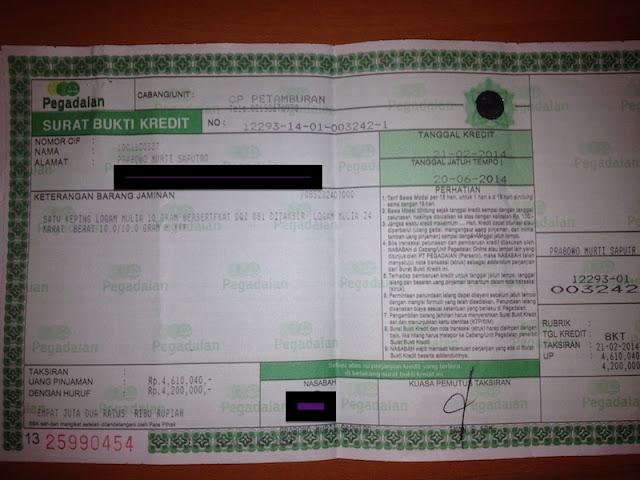 surat bukti kredit pegadaian