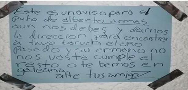 """Zetas pegan """"Narcoescrito"""" amenazante en Universidad Cristóbal Colòn de Veracruz"""