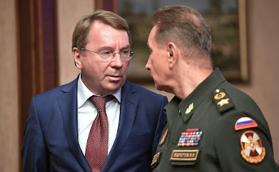 Presidential Aide Vladimir Kozhin (left) and Director of the Federal National Guard Service and Commander-in-Chief of the National Guard Viktor Zolotov before the meeting of Military-Industrial Commission.