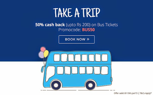Get upto 50% cashback on booking bus tickets at Paytm