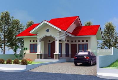 Cat Rumah Minimalis Atap Merah - Download Wallpaper