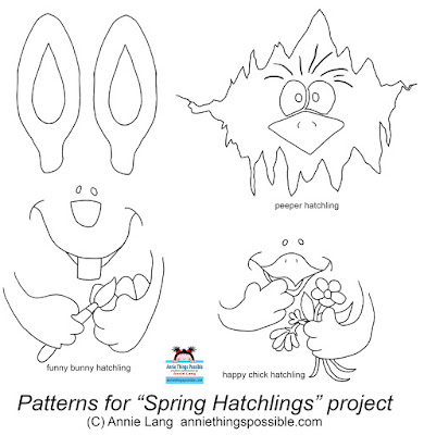 Transfer Annie Lang's free patterns onto paper mache eggs to make a bunny, chick and peeper character.