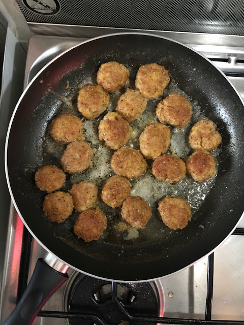 Homemade veal meatballs browned in butter
