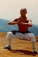 A typical horse stance of Qigong Tai Chi and Kung Fu