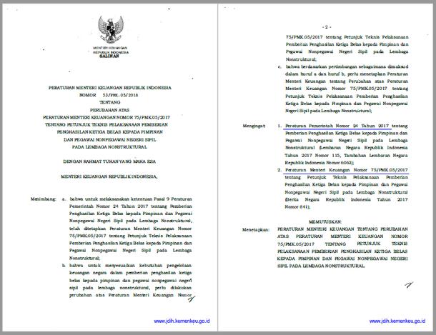 PMK Nomor  53/PMK.05/2018 Tentang Juknis Pemberian Gaji Ke 13 Kepada Pimpinan dan Pegawai Nonpegawai Negeri Sipil pada Lembaga Nonstruktural Tahun 2018