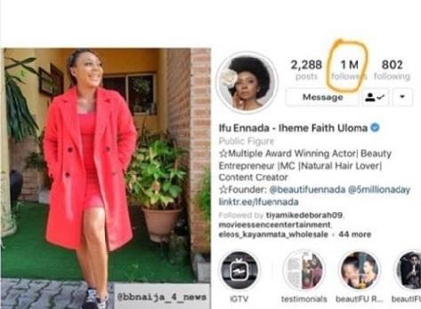 Actress Ifu Ennada  Instagram followers hits one Million