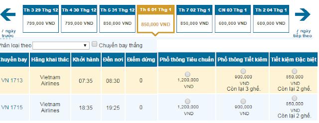 Giá Vé máy bay Hà Nội đi Vinh giá rẻ