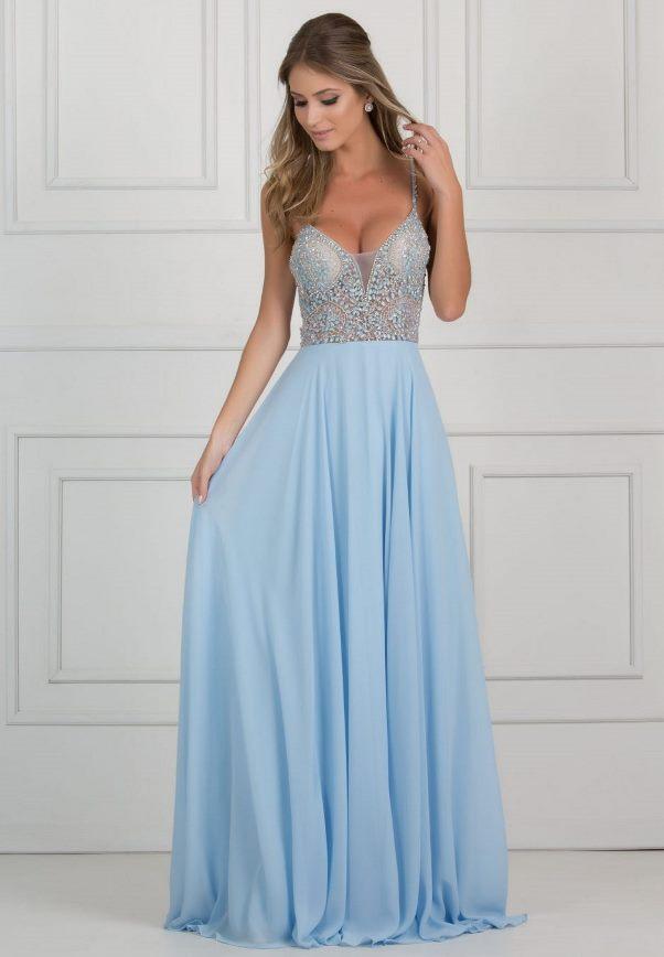 Vestido Festa Azul Celeste Vestidos Populares 2019