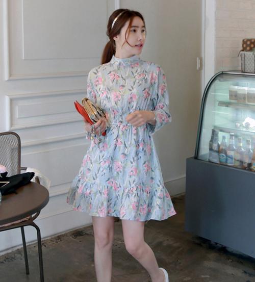 Floral High Neck Dress