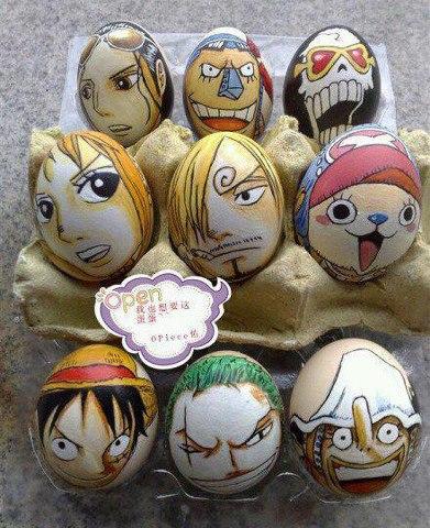 Wysokiej jakości rysunki One Piece na jajkach