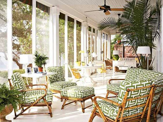 Outdoor Cushion Pads And Ornaments Bamboo Furniture