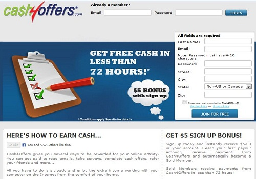 make money online with Cash4offers.com by playing games,reading emails,take surveys