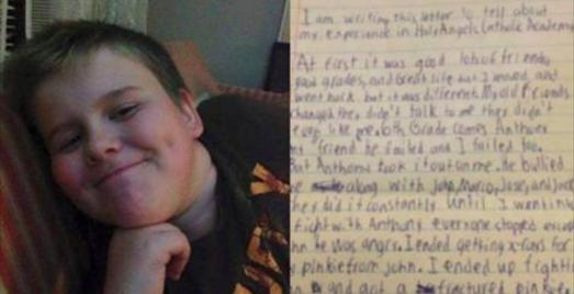 Avant de se suicider, un enfant de 13 ans a écrit une lettre bouleversante partagée par ses parents