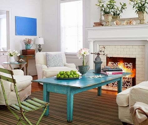 blue wood coffee table
