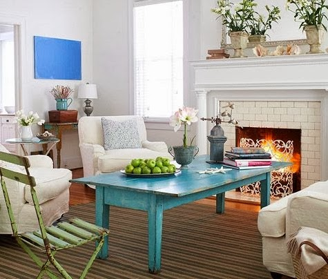 blue distressed wood coffee table