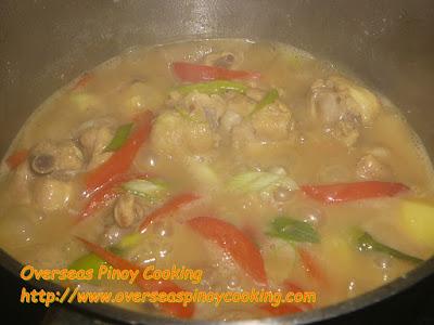 Ginataang Manok sa Dilaw - Cooking Procedure