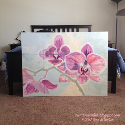 Three plum colored orchid blooms in different stages. Acrylic painting on canvas.