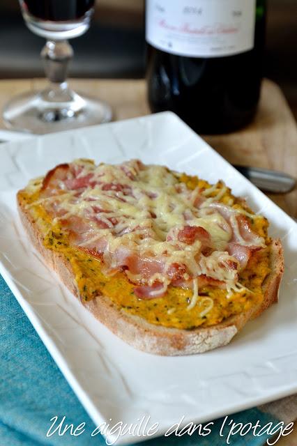 Tartine salée courgette curcuma fromage lard