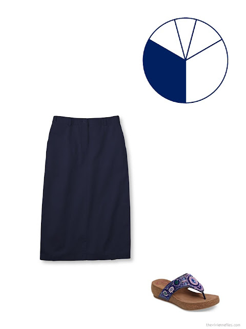 navy skirt and purple beaded sandals to add to a 13-piece travel capsule wardrobe for warm weather