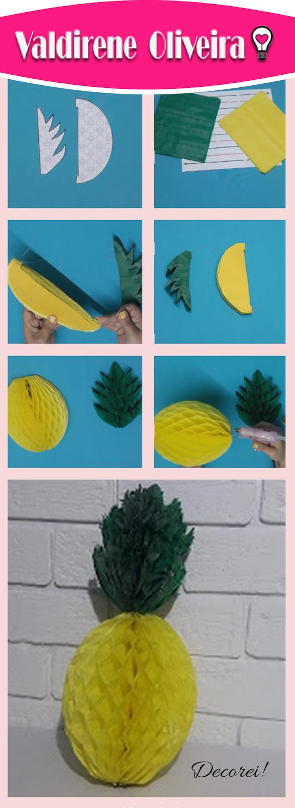 abacaxi de papel molde com passo a passo