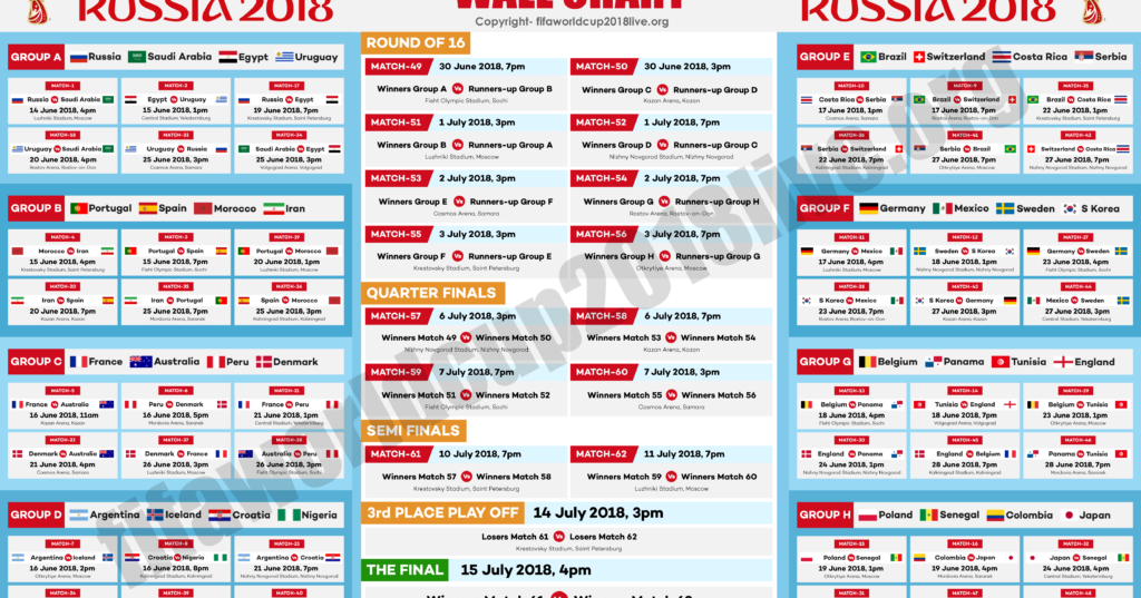 Peaceful image with world cup printable schedule