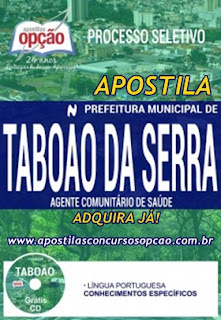 Apostila Processo Seletivo prefeitura municipal de Taboão da Serra 2017 para Agente Comunitário de Saúde