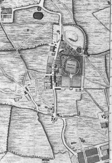 Détail du plan de John Rocque (1746) :  le village de Marylebone