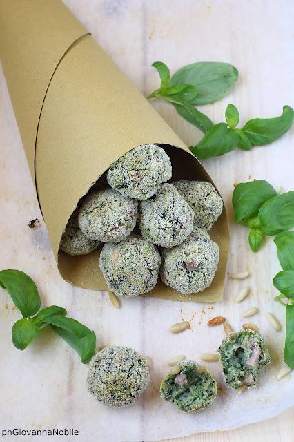 Polpettine di ricotta, spinaci e prosciutto cotto