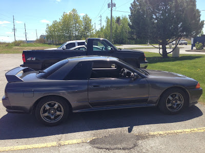 Side of Grey 1989 Nissan Skyline GTR R32 Imported to America