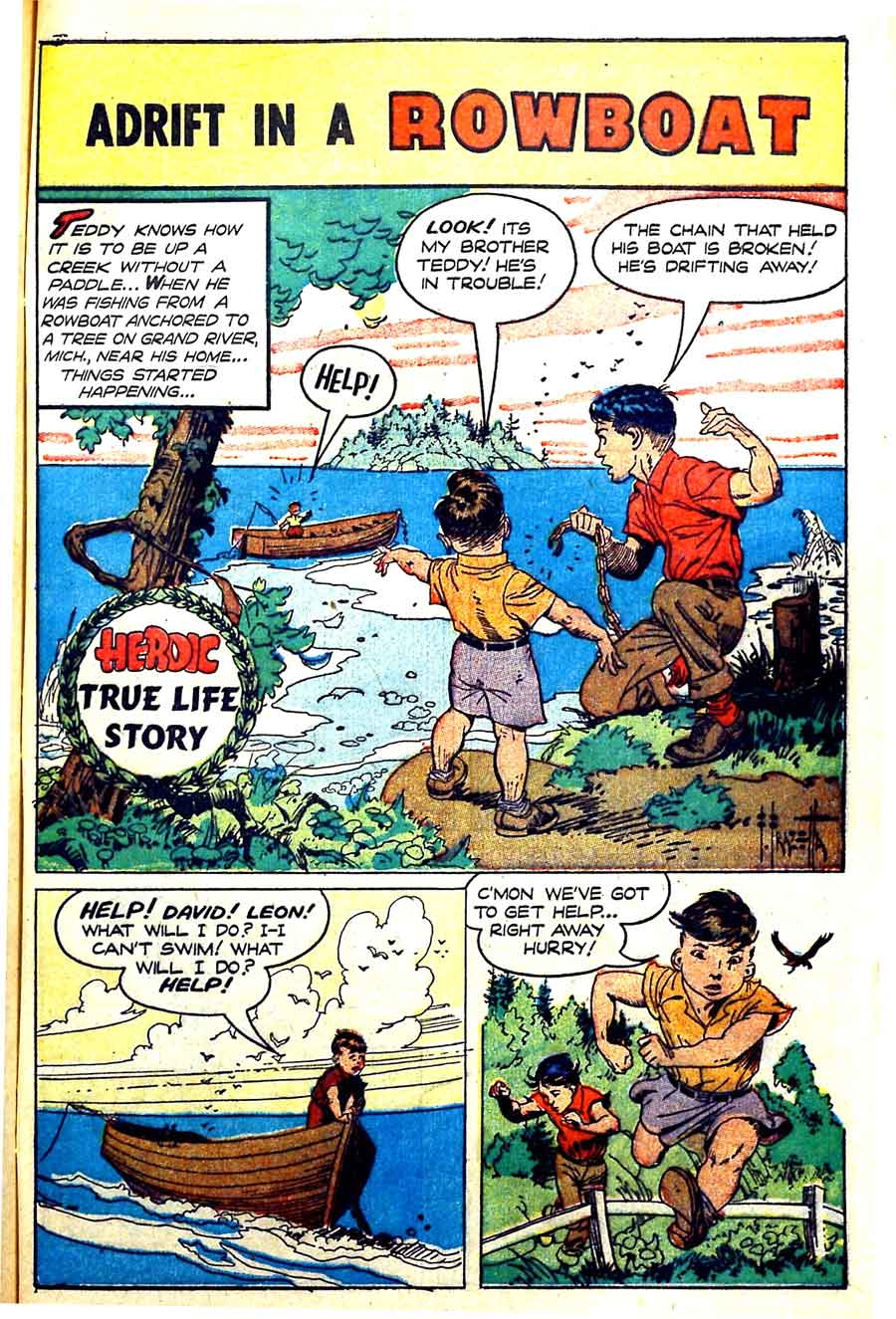 Heroic Comics #66 golden age 1950s comic book page art by Frank Frazetta