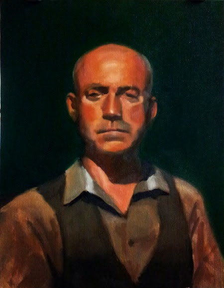Oil painting of the head and torso of a bald man in a grey shirt and a dark grey waistcoat.