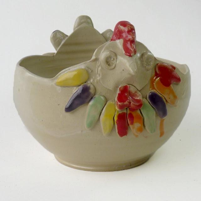 Saladier poule, céramique d'art