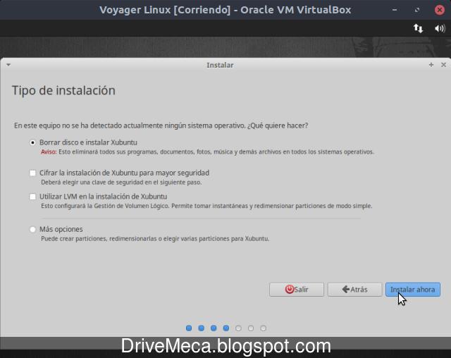 Particionamos el disco para Voyager Linux