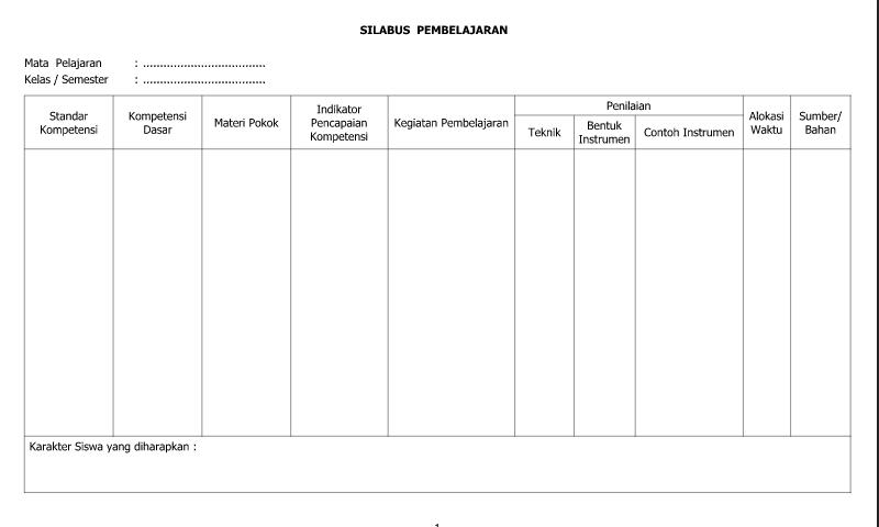 Download Contoh Format Silabus Pembelajaran untuk Administrasi GuruSD/MI-SMP/MTs-SMA/SMK/MA