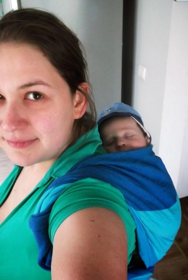 plecak prosty, wiązanie, śpiący maluch, 3 miesiące