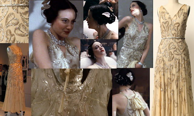 Fabulous Film Fashions W.E.  - Wallis - Cream Chiffon Leaf Beaded Gown  - Madeleine Vionnet