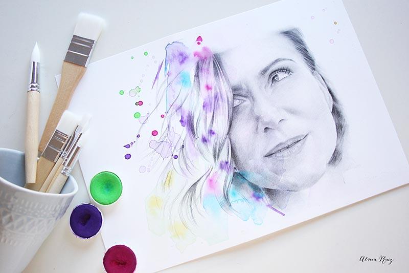 Retrato a lápiz y acuarela Sol Aguirre
