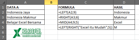 Contoh Fungsi LEFT, RIGHT dan MID Excel