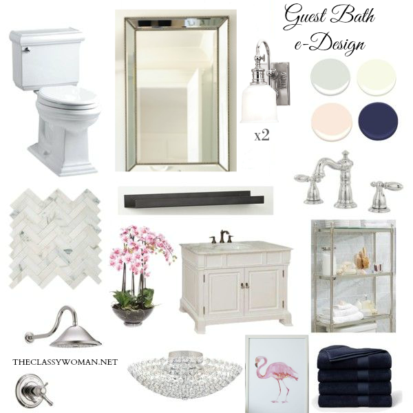 Bathroom Design Board the classy woman ®: elegant guest bathroom design