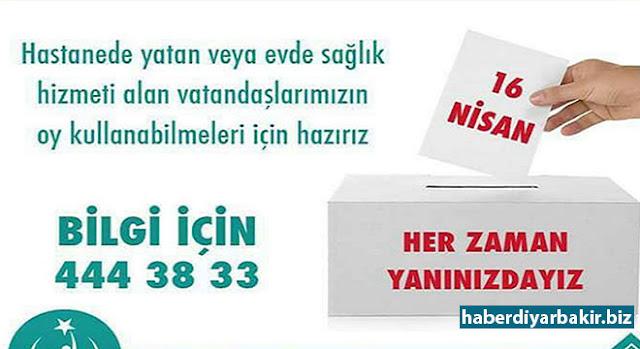 DİYARBAKIR-Diyarbakır Halk Sağlığı Müdürlüğü, 16 Nisan 2017 tarihinde yapılacak olan halk oylamasında, evde sağlık hizmeti alan hastalardan ayrıca hastanede yatmak durumunda olan hastalardan oy kullanmak isteyenlerin, nakil araçlarıyla sandığa ulaştırılacağını duyurdu.