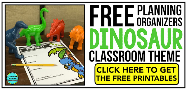 DINOSAUR Theme Classroom: If you're an elementary teacher who is thinking about a dinosaur theme then this classroom decor blog post is for you. It'll make decorating for back to school fun and easy. It's full of photos, tips, ideas, and free printables to plan and organize how you will set up your classroom and decorate your bulletin boards for the first day of school and beyond.