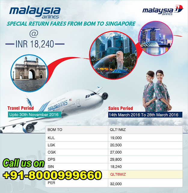 Malaysia Airlines Special return fares from bom to singapore, singapore flight ticket, domestic air ticket agent, international air ticket agent in ahmedabad, malaysian airline flight ticket